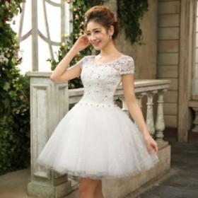 ドレス 結婚式 お呼ばれ ミモレ丈 花嫁 20代 ウエディングドレス ミニドレス カラードレス パーティードレス 二次会 kuqun8283801