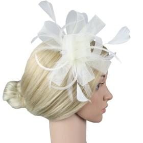 Jelinda 花嫁 ヘッドドレス 羽根 髪飾り ヘアコサージュ エレガント フォーマル 結婚式 成人式 お祭り 浴衣 演出 パーティー 撮影写真にも (べジュー)