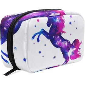 ユニコーン 星空 化粧ポーチ メイクポーチ 機能的 大容量 化粧品収納 小物入れ 普段使い 出張 旅行 メイク ブラシ バッグ 化粧バッグ