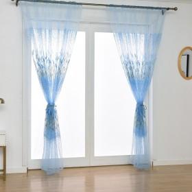 カーテン YOKINO 夜も透けにくいミラーレース 1組1枚入り 幅100cm×丈200cm 外から見えにくい 遮熱 洗える 遮像 昼夜目隠し (Blue)
