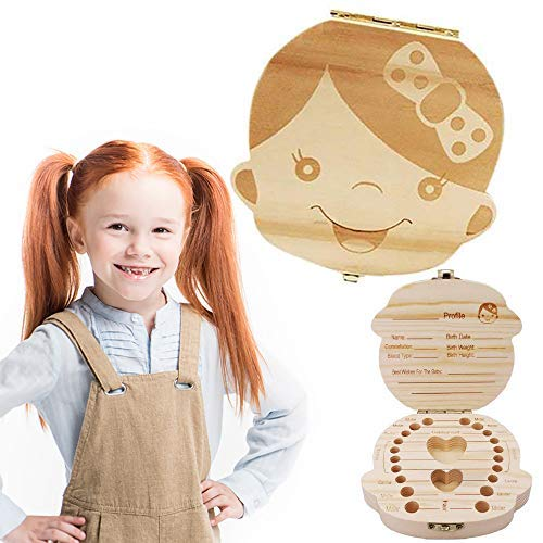 Baby Tooth Box Wooden Kids Tooth Holder Teeth Collection with Tweezers Baby Save Boxes Keepsake for Girl