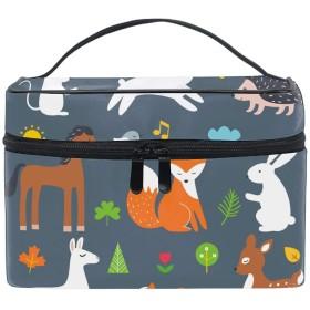 メイクポーチ ボックス 小物入れ 仕切り 旅行 出張 持ち運び便利 コンパクト森の森の動物漫画