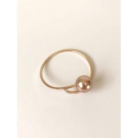 by boe(バイ ボー) CIRCULAR PEARL RING/指輪 リング 重ね付け 変形 ワイヤー パール ブラック ピンク ゴールド (Pink, Large/13号~14号)