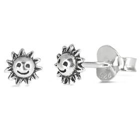5mm Tiny Round Smiling Sunスタッドポストイヤリング925スターリングシルバー太陽イヤリングカラー選択