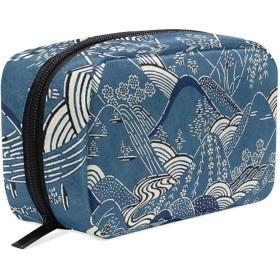 日本の風景 化粧ポーチ メイクポーチ 機能的 大容量 化粧品収納 小物入れ 普段使い 出張 旅行 メイク ブラシ バッグ 化粧バッグ