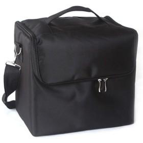 女性プロのメイクオーガナイザー収納ケース大容量ショルダー化粧品バッグ多層ツールボックス (Color : Black)