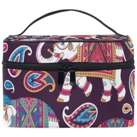 メイクボックス インドの象柄 化粧ポーチ 化粧品 化粧道具 小物入れ メイクブラシバッグ 大容量 旅行用 収納ケース