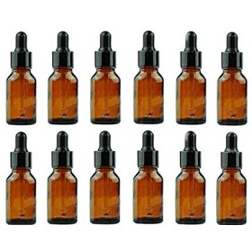 12 Amber 15 ml (1/2 oz) Glass Bottles Essential Oil Bottles Jars Refillable Makeup Cosmetic Sample Bottle Container with Glass Eye Droppers for Essential Oil Aromatherapy Use (15ml) [並行輸入品]