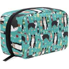 オーストラリアンシェパード 化粧ポーチ メイクポーチ 機能的 大容量 化粧品収納 小物入れ 普段使い 出張 旅行 メイク ブラシ バッグ 化粧バッグ