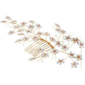 Perfk 花嫁衣装 ヘアコーム 櫛 ピン ラインストーン 輝き 贈り物 全4タイプ  - #1
