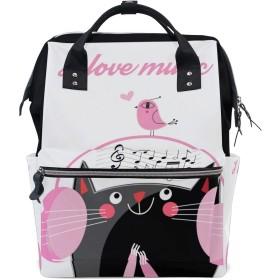 ママバッグ マザーズバッグ リュックサック ハンドバッグ 旅行用 黒猫柄 音楽 可愛い ファション