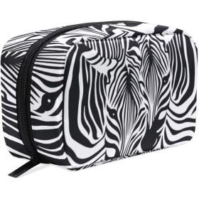 シマウマ柄 化粧ポーチ メイクポーチ 機能的 大容量 化粧品収納 小物入れ 普段使い 出張 旅行 メイク ブラシ バッグ 化粧バッグ