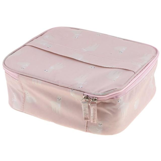 化粧ポーチ 収納ポーチ メイクボックス メッシュポーチ 収納ケース 旅行 メイクアップ 収納袋 防水性 通気性 可愛い 2色選べる - ピンク