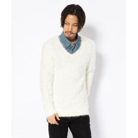RAWLIFE AMPHIBIAN/アンフィビアン/Feather V Neck Knit メンズ WHITE M 【RAWLIFE】
