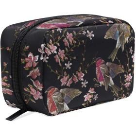 刺繍の鳥と満開の桜 化粧ポーチ メイクポーチ 機能的 大容量 化粧品収納 小物入れ 普段使い 出張 旅行 メイク ブラシ バッグ 化粧バッグ