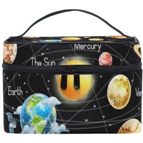 メイクポーチ 太陽系惑星宇宙 化粧ポーチ 化粧箱 バニティポーチ コスメポーチ 化粧品 収納 雑貨 小物入れ 女性 超軽量 機能的 大容量
