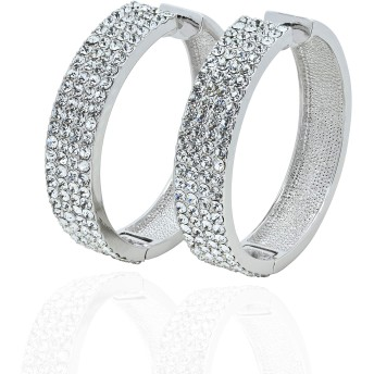 KIAH 18K ホワイトゴールドメッキ 模造ダイヤモンド フープイヤリング レディース ガールズ ファッションジュエリー
