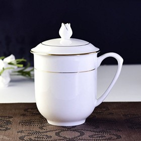 LUOSAI 蓋付きカップ茶カップ贈り物セラミックカップビジネスギフトカップ
