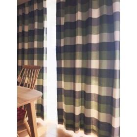 リネン調ナチュラルチェックカーテン(2枚入) (幅100×丈178cm(2枚), グリーン(遮光裏地付))
