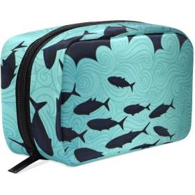 魚柄 水色 化粧ポーチ メイクポーチ 機能的 大容量 化粧品収納 小物入れ 普段使い 出張 旅行 メイク ブラシ バッグ 化粧バッグ