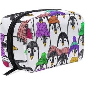 南極ペンギン 動物柄 化粧ポーチ メイクポーチ 機能的 大容量 化粧品収納 小物入れ 普段使い 出張 旅行 メイク ブラシ バッグ 化粧バッグ