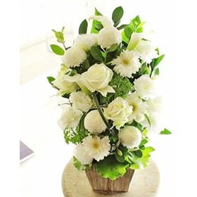 [KY125]供花アレンジメント G&W Basket(グリーン・白系)< 法事 法要 四十九日 命日 お彼岸 初盆 お盆 お供え花に >