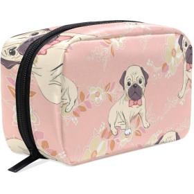 UOOYA おしゃれ 化粧ポーチ 犬柄 軽量 持ち歩き メイクポーチ 人気 小物入れ 収納バッグ 通学 通勤 旅行用 プレゼント用