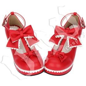 【UMU】 LOLITA ロリータ リボン 姫 お嬢 赤 風 靴 ブーツ ブーティ オーダーメイド(ヒール高、材質、靴色は変更可能!) (足28.5cm)