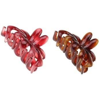 Prettyia バレッタ ヘアクリップ 髪飾り レディース 爪 花 アクリル 使いやすい 2点 全2色選択 - 赤と茶色
