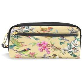 ALAZA 鳥 花柄 鉛筆 ケース ジッパー Pu 革製 ペン バッグ 化粧品 化粧 バッグ ペン 文房具 ポーチ バッグ 大容量