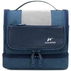 多機能旅行収納バッグ_乾湿分離洗面カバンポーチ携帯収納バッグ多機能旅行, 濃い青