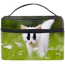 化粧ポーチ メイクポーチ コスメポーチ かわいい 白い子猫小物入れ おしゃれ レディース 機能的 ギフト プレゼント