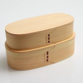 曲げわっぱ 小判二段入子弁当箱 白木 漆器 杉 保湿 天然木製 おかず 天然木 女性 男性