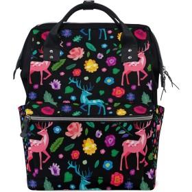 ママバッグ マザーズバッグ リュックサック ハンドバッグ 旅行用 可愛い 鹿柄 カラー花 ファション