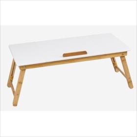 HAUYU テーブル ポータブル竹折りたたみラップトップデスクノートブック調節可能な高さトレイテーブルテーブル引き出し付き(換気スロットなし) 耐久性のある (色 : 白)