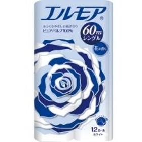 カミ商事 エルモア 花の香り シングル 芯あり 60m 1セット(96ロール:12ロール×8パック)