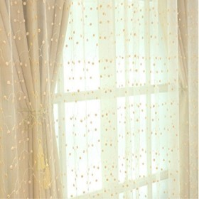 Hom Mall レースカーテン ロングカーテン 昇降フック付き シェードカーテン紗 オーガンジー生地 半透明 遮光断熱 刺繍 美しい桜桃模様 目隠し効果 薄手 装飾 玄関 間仕切り 通気性がよい 1組2枚入り ベージュ