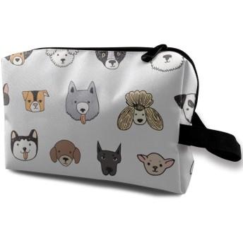 犬の顔 面白い 化粧バッグ 収納袋 女大容量 化粧品クラッチバッグ 収納 軽量 ウィンドジップ