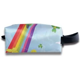 聖パトリックの日漫画ハッピーレプラコーン 化粧ポーチ メイクポーチ ミニ 財布 機能的 大容量 アイシャドー 化粧品収納 小物入れ 普段使い 出張 旅行 メイク ブラシ バッグ ポータブル 化粧バッグ