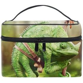 メイクポーチ ボックス 小物入れ 仕切り 旅行 出張 持ち運び便利 コンパクトカメレオン爬虫類動物