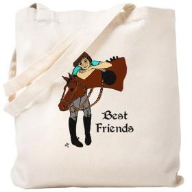 CafePress–英語Horse Friends–ナチュラルキャンバストートバッグ、布ショッピングバッグ S ベージュ 0523003117DECC2