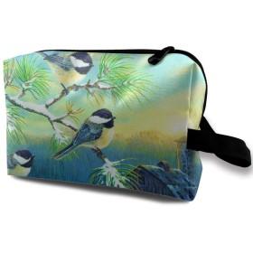 冬日 鳥 風花 光 化粧バッグ 収納袋 女大容量 化粧品クラッチバッグ 収納 軽量 ウィンドジップ