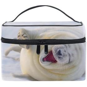 化粧ポーチ メイク収納 中身が見やすいユキヒョウ雪の動物ビッグキャット 持ち運び用 小物入れ