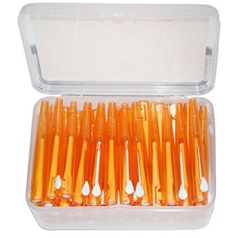 RaiFu 歯間クリーニングブラシ 歯 スリム ソフト プッシュプル 口腔ケアツール 60個/箱 オレンジ-1.2〜1.5mm