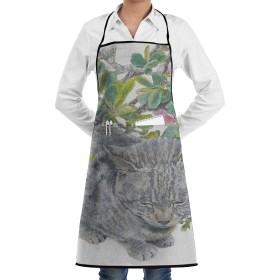 エプロン かわいい猫と緑の葉 カフェエプロン ビブエプロン キッチンエプロン 胸当て 前掛け 腰巻 H型 ロング キッチン カフェ 飲食店 保育士 男女兼用 シンプル かわいい おしゃれ 人気 北欧