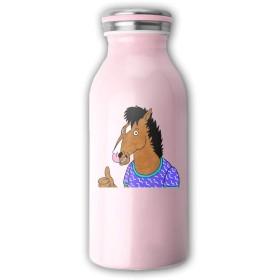 Milicamp 水筒 真空断熱 スクリュー式 マグ ボトル ホースマン 牛乳瓶 保温 保冷 350ml ミルク ステンレスマグボトル おしゃれ タンブラー オフィス 魔法瓶 抗菌仕様 ギフト 贈り物 ピンク