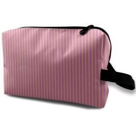 メイクポーチ ピンクのストライプ トラベルポーチ シングルファスナーポーチ 大容量 トラベル コンパクト 旅行収納バック 化粧品収納 便利グッズ 旅行・出張・家庭用