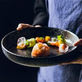 クリエイティブ10インチセラミックプレートレトロフルーツサラダプレート和風ラーメン浅いプレートラウンドスーププレート、家族、レストランに最適