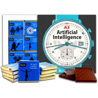 DA CHOCOLATE キャンディスーベニア人工知能チョコレートギフトセット13x13 cm 1箱 (Clock)