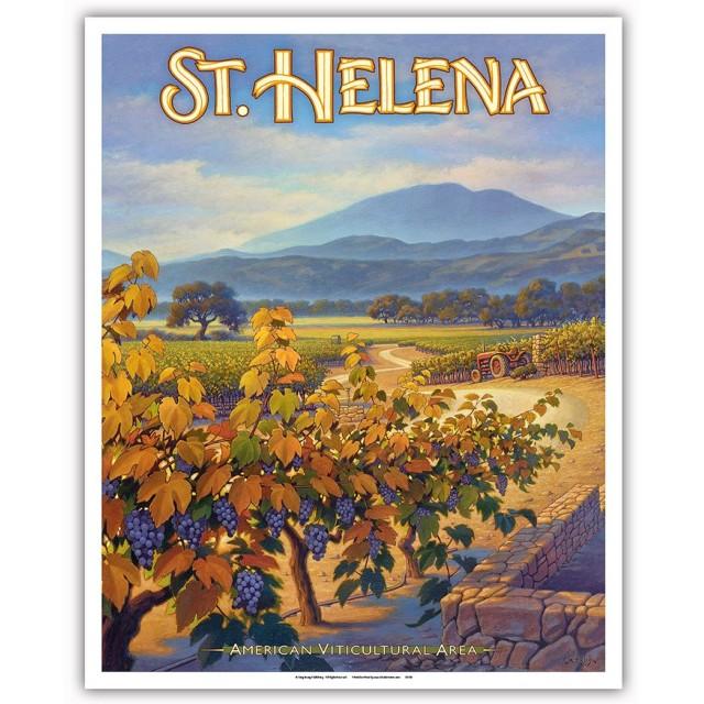 セント・ヘレナ・ワイナリー - コリンズ・ホーリーストーン・ヴィンヤード - ノースコーストAVAブドウ園 - カリフォルニアワインカントリーアート によって作成された カーン・エリクソン - アートポスター - 41cm x 51cm